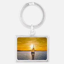 Sailing into the sunset Landscape Keychain