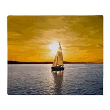 Sailing into the sunset Throw Blanket