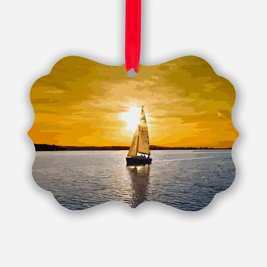 Sailing into the sunset Ornament