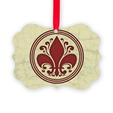 fleur-antique-red-OV Picture Ornament