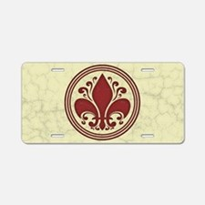 fleur-antique-red-OV Aluminum License Plate