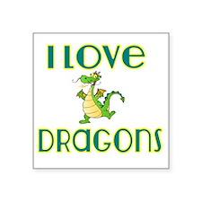 "I love Dragons 2 Square Sticker 3"" x 3"""