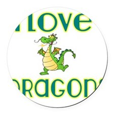 I love Dragons 2 Round Car Magnet