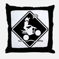 QUAD WHEELIE black placard Throw Pillow