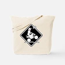 QUAD WHEELIE black placard Tote Bag