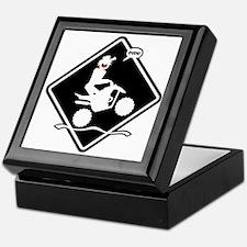 QUAD WHEELIE black placard Keepsake Box