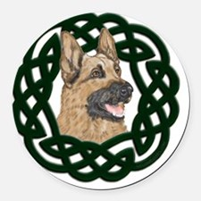 Celtic German Shepherd Round Car Magnet