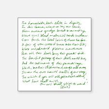 "Romeo Juliet opening green Square Sticker 3"" x 3"""