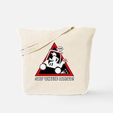 GOLF CART WHEELIE danger sign Tote Bag