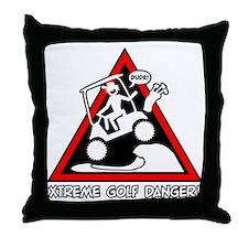GOLF CART JUMP danger sign Throw Pillow