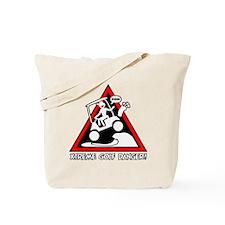 GOLF CART JUMP danger sign Tote Bag