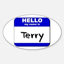 hello my name is terry Oval Decal