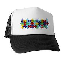 Autism Awareness Puzzle Piece Pattern Trucker Hat