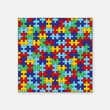 """Autism Awareness Puzzle Pie Square Sticker 3"""" x 3"""""""