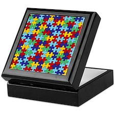 Autism Awareness Puzzle Piece Pattern Keepsake Box