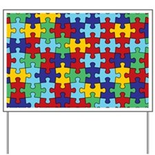 Autism Awareness Puzzle Piece Pattern Yard Sign