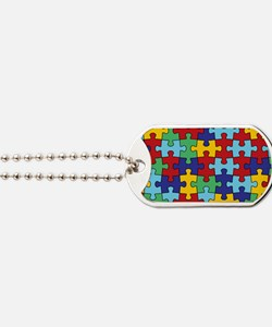 Autism Awareness Puzzle Piece Pattern Dog Tags