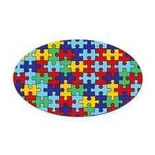 Autism Awareness Puzzle Piece Patt Oval Car Magnet