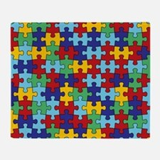 Autism Awareness Puzzle Piece Patter Throw Blanket