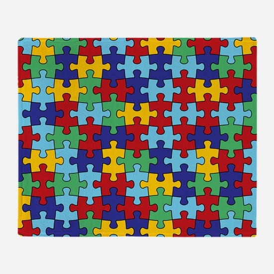 Autism Awareness Puzzle Piece Patter Throw Blanket