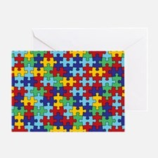 Autism Awareness Puzzle Piece Patter Greeting Card