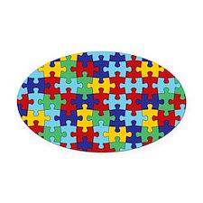 Autism Awareness Puzzle Piece Patt Oval Car Magnet