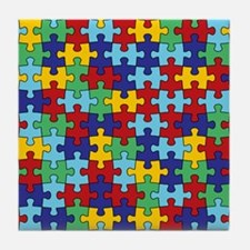 Autism Awareness Puzzle Piece Pattern Tile Coaster