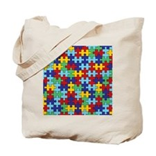 Autism Awareness Puzzle Piece Pattern Tote Bag