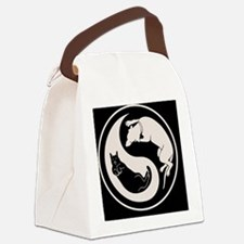 cat-dog-yang-bw-BUT Canvas Lunch Bag