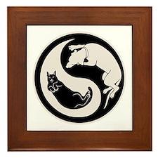 cat-dog-yang-bw-T Framed Tile
