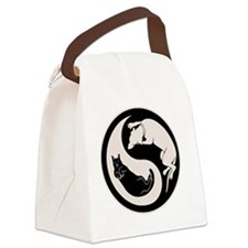 cat-dog-yang-bw-T Canvas Lunch Bag