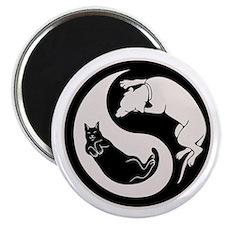 cat-dog-yang-bw-T Magnet