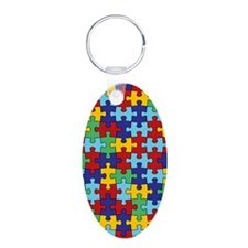 Autism Awareness Puzzle Pie Aluminum Oval Keychain