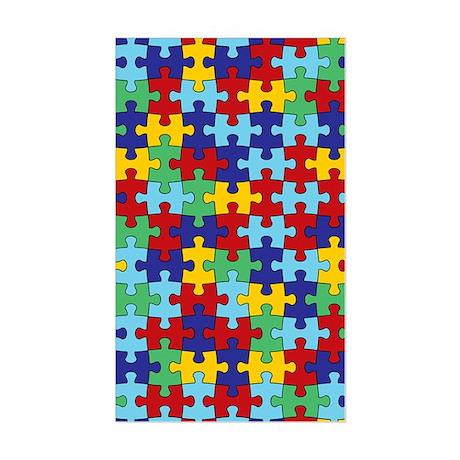 Autism Awareness Puzzle Piece Sticker (Rectangle)