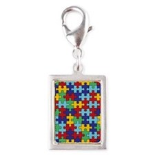 Autism Awareness Puzzle Piec Silver Portrait Charm