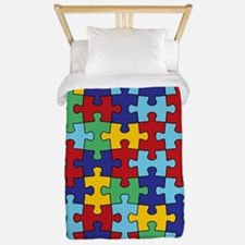 Autism Awareness Puzzle Piece Pattern Twin Duvet