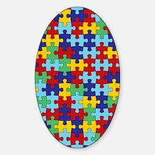 Autism Awareness Puzzle Piece Patte Sticker (Oval)