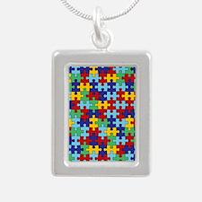 Autism Awareness Puzzle  Silver Portrait Necklace
