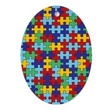 Autism Awareness Puzzle Piece Patter Oval Ornament