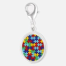 Autism Awareness Puzzle Piece P Silver Oval Charm