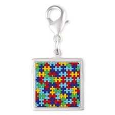Autism Awareness Puzzle Piece Silver Square Charm