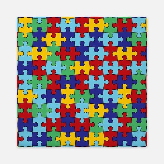 Autism Awareness Puzzle Piece Pattern Queen Duvet