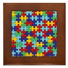 Autism Awareness Puzzle Piece Pattern Framed Tile