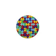 Autism Awareness Puzzle Piece Pattern Mini Button