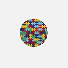 Autism Awareness Puzzle Piece Pattern Mini Button