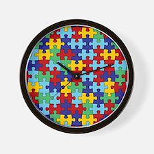 Autism Awareness Puzzle Piece Pattern Wall Clock