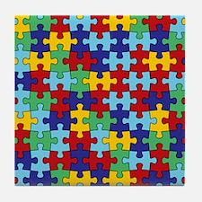 Autism Awareness Puzzle Piece Pattern Tile Coaster