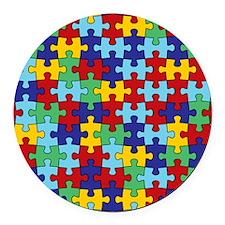Autism Awareness Puzzle Piece Pat Round Car Magnet