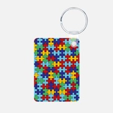 Autism Awareness Puzzle Pi Keychains