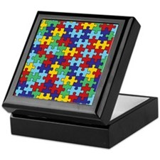 Autism Awareness Puzzle Piece Pattern Keepsake Box